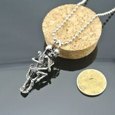 FREE GIFT BAG Silver Plated Skeleton Lovers Necklace Chain Goth Skull Halloween