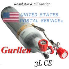 Gurlleu Carbon Fiber 3L Ce Scuba Air Cylinder 4500psi Pcp Tank w/ Valve Set