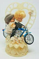 Vintage 1973 Motorcycle Couple Wedding Cake Topper Sweet Bride Groom