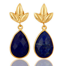 Leaf Design Silver 18k Gold Plated Lapis Dangle Earrings Handmade Jewelry