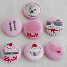 6 Fabric Covered Button - Cake Cat Teapot Cupcake Pink