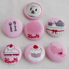 6 tissu couvert bouton-gâteau chat théière cupcake rose