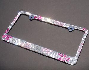 Bling Bling Pink Flower Crystal METAL License Plate Frame+CAP+SCREW
