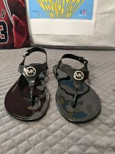 Michael Kors Jelly Thong T Strap Sandals Supreme Black 7M Womens Size 7 Medium