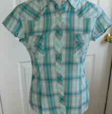 NWT Panhandle Juniors S Small Western cap-sleeve teal plaid,snaps 100% Cotton