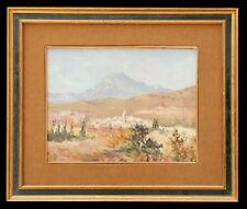 Huile sur toile représentant un village près des montagnes .Alpes / Italie ?