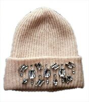 H&M Womens Beanie Hat H M Bling Peach Wool Glamour Knitted Jewel One Size Luxe
