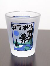 St Thomas Virgin Islands With Palm Trees & Sailboat Frosted Shot Glass