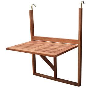 Balkonhängetisch Balkontisch Balkonmöbel Tisch klappbar 60x40cm Akazie Holz