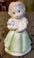 "Porcelain Bell - Girl with Bunny Rabbit - 5"" tall - Beautiful Vibrant Detailed"