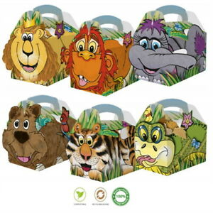 15 Jungle Zoo Animal Birthday Party Boxes Childrens Fun Picnic Food Meal Box
