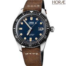 Oris Men's Divers Sixty-Five 01 733 7720 4055-07 5 21 02 blue dial leather strap