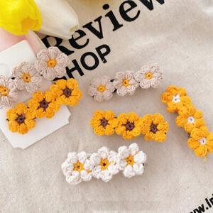 Womens Weaving Cotton Flower Hair Clip Barrette Stick Hairpin Hair Accessories