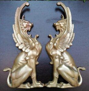 Chimeras Affrontées Bronze Lions Winged Guardians Of Temple IN 'Antique XIX ° Th