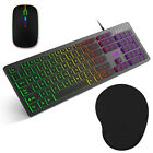 Computer Wired Keyboard Slim Wireless Mouse Pad Combo LED Light Backlit RGB