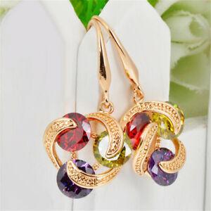 Fashion Ruby/Peridot/Amethyst Drop/Dangle Hook Earrings 10KT Yellow Gold Filled