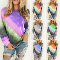 Womens Long Sleeve Blouse Tops Ladies Casual Gradient Tie-Dye Loose T Shirt