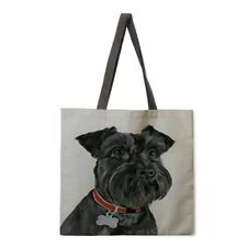 More details for schnauzer tote bag black schnauzer dog double sided shopping bag