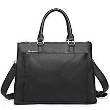 Women DESIGNER PU Leather Shoulder Tote Large Handbag Laptop Bag Ladies Black