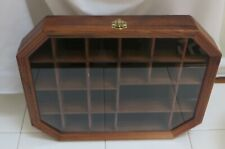Vtg. Hanging Wooden SHADOW BOX Curio Miniature DISPLAY CABINET Case w GLASS DOOR