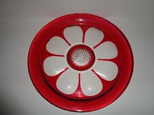 AJKA LAUSANNE Crystal RUBY RED Cut to Clear TRAY / PLATTER / CHARGER Hungary