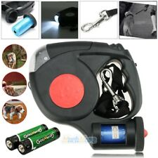 5M LED Dog Leash Retractable Walking Collar Automatic Traction Rope w/ Waste Bag