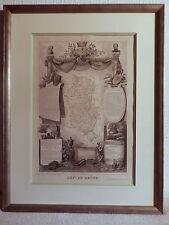 Engraving 19eme century card department french 69 Rhône geography france