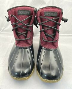 Sperry Saltwater Core Quilted Duck Boot All-Weather Women's Size 7 Cordovan Red