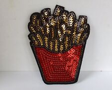 FRENCH FRIES SEQUIN EMBROIDERED APPLIQUÉ PATCH SEW OR IRON ON FOOD KITSCH