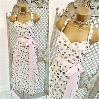 DEBUT 💋 UK 12 Pink Polka-dot Chiffon Retro Fit & Flare Swing Dress ~Free P&P