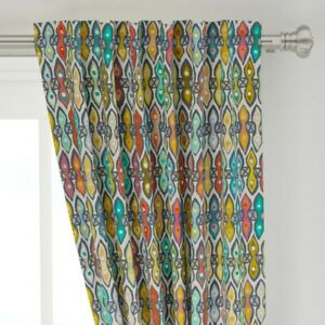 """Ikat Geometric Indian Stripe Nature Bohemian 50"""" Wide Curtain Panel by Roostery"""
