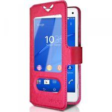 Housse Coque Etui S-view Universel S Couleur Rose Fushia pour Sony Xperia Z3 Com