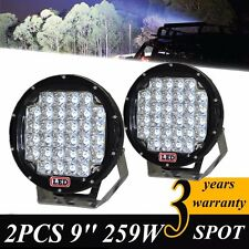 Pair 9inch 259wLED Driving Light CREE Black Round Spotlight BAR Offroad TruckHID