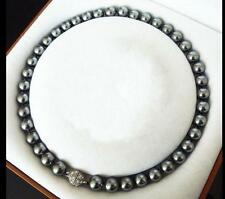 "beautiful 10MM Dark gray SOUTH SEA SHELL PEARL NECKLACE 18"" LL003"