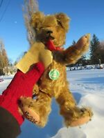 "VINTAGE TEDDY BEAR HERMANN 12"" CURLY MOHAIR  W GREEN CIRCLE TAG 1924 OLD GERMAN"