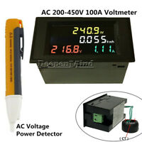 AC100A  200-450VLCD Voltmeter Ammeter Amp Kwh Meter CT+AC Voltage Power Detector