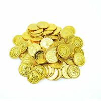 100 GOLD COINS Pirate Party Treasure Plastic Loot Bag Toys Fillers Childrens Fun