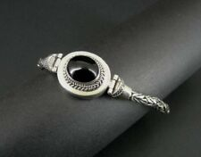 Style Clasp Sterling 925 Silver Bracelet Black Onyx Stone Thick Chain Hook