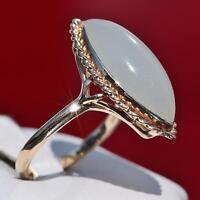 Ming's handmade 14k yellow gold 5.25ct white jade size 7 solitaire ring 5.6g