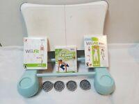 Wii Workout Bundle- Nintendo Wii Fit Balance Board Psyclone Riser 3 games 4 feet