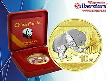 10 Yuan Silber China Panda 2016 gilded reverse in Box und CoA