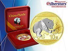 10 Yuan ARGENTO CINA PANDA 2016 Gilded REVERSE in box e COA