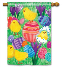 "CHICKY BABES  FULL-SIZE FLAG - 28"" x 40"", pretty Easter decorative!"
