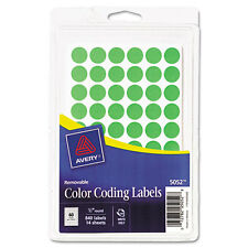 Avery Removable Color Coding labels, 1/2 Inch, Round, Green 840/Pack 3/Pack 5052