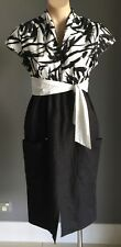 Gorgeous SANDRA SOULOS Black & White Cap Sleeve Waist Tie Midi Dress Size 10