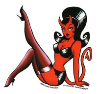#SEXY #DEVIL WOMAN LADY #PINUP GIRL Vinyl BUMPER  #STICKER/ #DECAL By EVILKID