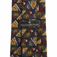 "Ermenegildo Zegna Men's 100% Silk Tie Tie Geometric Pyramids & Moon Italy 3.75"""