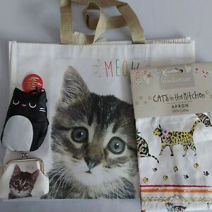 meow bag foldable shopping bag coin purse cats in the kitchen apron gift bundle