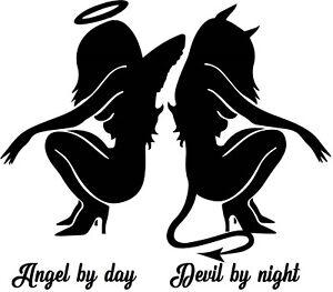 naughty devil angel girls vinyl car bonnet sticker rear window side graphic art