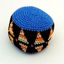 HACKY SACK  FOOTBAG CROCHETED GUATEMALAN STYLE KICK BAG BLUE MULTI COLOR NEW